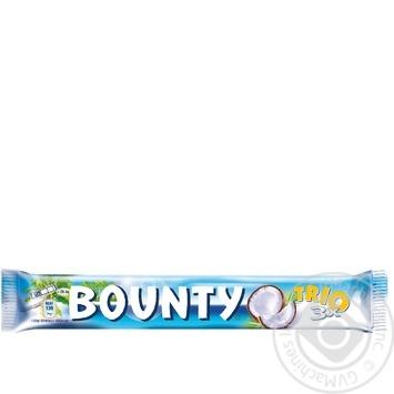 Батончик Bounty Trio в молочно-шоколадній глазурі з кокосовою начинкою 3шт 85г - купити, ціни на МегаМаркет - фото 1