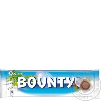 Батончик Bounty в молочно-шоколадній глазурі з кокосовою начинкою 6шт 171г - купити, ціни на Ашан - фото 1