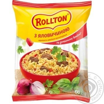 Rollton With Beef Instant Noodles 60g - buy, prices for MegaMarket - image 1
