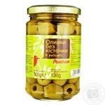 Оливки зеленые Ашан без косточки 300г