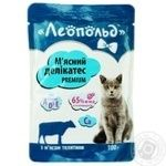 Корм Леопольд Мясной деликатес влажный для кошек с телятиной 100г
