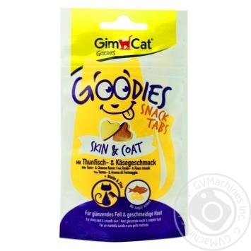 Снек GimCat Goodies Skin & Coat з тунцем та сиром для котів 40г - купити, ціни на Ашан - фото 1