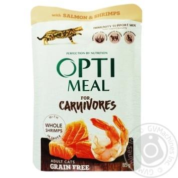 Корм консервированный Optimeal беззерновой с лососем и креветками в соусе для кошек 85г