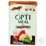 Корм консервированный Optimeal беззерновой с телятиной куриным филе и шпинатом для кошек 85г