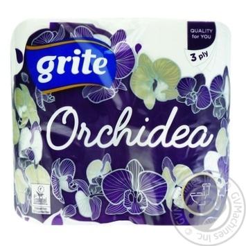 Папір туалетний Grite Orchidea Gold тришаровий 4шт - купити, ціни на Novus - фото 1