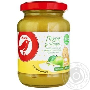 Пюре Ашан из яблок для детей с 4 месяцев 200г - купить, цены на Ашан - фото 1