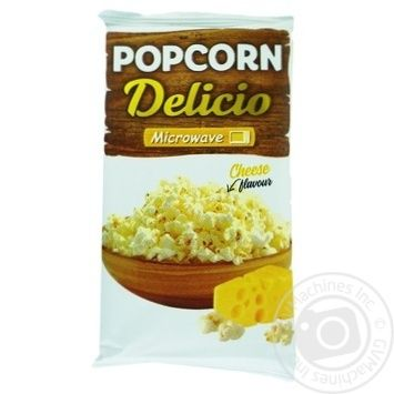 Попкорн Delicio зі смаком сиру для мікрохвильової печі 90г - купити, ціни на Ашан - фото 1