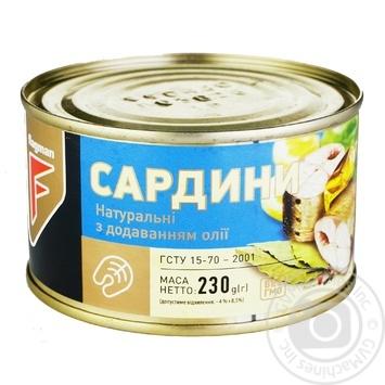 Сардины Flagman натуральные с добавлением масла 230г - купить, цены на Фуршет - фото 1
