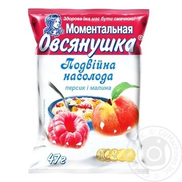 Vivsyanushka Instant Oatmeal with Raspberries and Cream 47g - buy, prices for Auchan - photo 1
