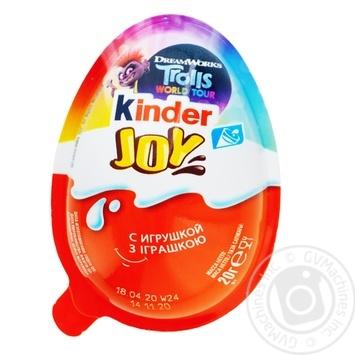 Яйце Kinder Joy Для дівчат з двошаровою пастою на основі молока і какао і вафельними кульками вкритими какао з молочним кремом усередині та з іграшкою 20г - купити, ціни на МегаМаркет - фото 1