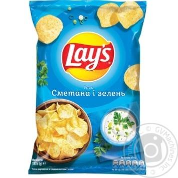 Чипсы Lay's со вкусом сметаны и зелени 133г - купить, цены на Ашан - фото 1