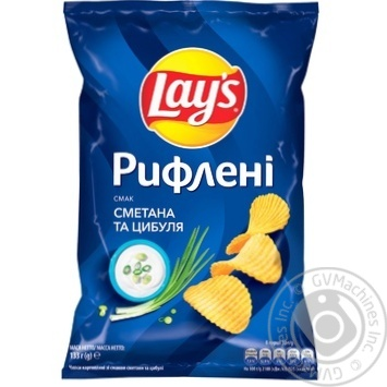 Lay's Ridged Sour cream & Onion Flavored Potato Chips 133g - buy, prices for Novus - image 1