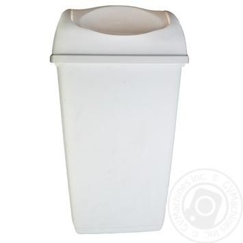 Мусорник прямоугольный белый 9л - купить, цены на Ашан - фото 1