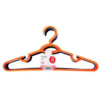 Набір вішалок Actuel пластикових 6шт*40см - купити, ціни на Ашан - фото 1