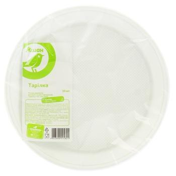 Тарелка Ашан десертная одноразовая 16,5см 10шт - купить, цены на Ашан - фото 1