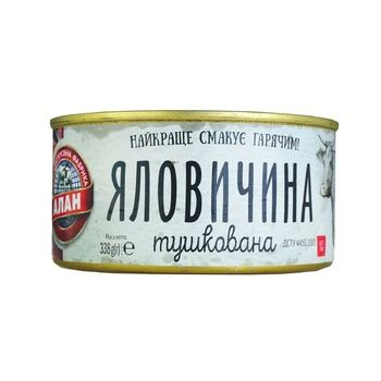 Консервы Алан Говядина тушеная 338г - купить, цены на Фуршет - фото 1