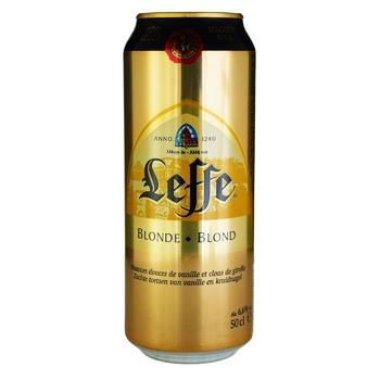 Пиво Leffe Blonde світле 0,5л ж/б - купити, ціни на ЕКО Маркет - фото 1