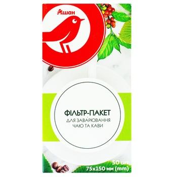 Фильтр-пакет Ашан для заваривания чая и кофе 50шт - купить, цены на Ашан - фото 1