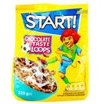 Сухие завтраки Start! Кольца со вкусом шоколада 320г - купить, цены на Ашан - фото 1