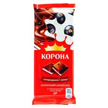 Шоколад молочный Корона со смородиновой и кремовой начинками 85г - купить, цены на Ашан - фото 1