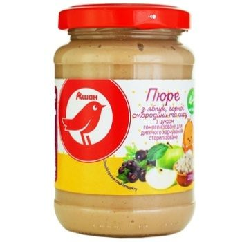 Auchan puree from blackcurrant apples and cheese 200g - buy, prices for Auchan - photo 2