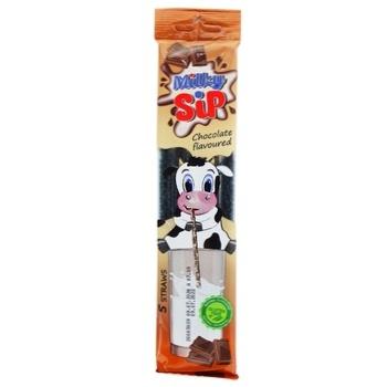 Соломинки ViteCer MilkySip для молока со вкусом шоколада 5*6г