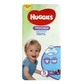 Трусики-подгузники Huggies Pants 5 Mega 13-17 кг для мальчиков 48 шт - купить, цены на Ашан - фото 2
