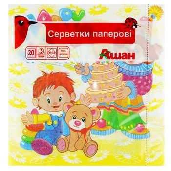 Auchan Children's Three-layer Paper Napkins 33*33cm 20pcs - buy, prices for Auchan - photo 1