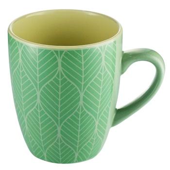 Чашка Actuel Зеленые листья керамическая 340мл
