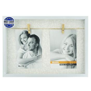 Мультирамка-прищепка Velista для 2 фотографий 10*15см белая - купить, цены на Ашан - фото 1