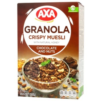 Мюслі Axa з шоколадом та горіхами 270г - купити, ціни на CітіМаркет - фото 1