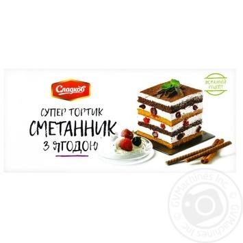 Торт Сладков сметанник с ягодой 450г - купить, цены на Novus - фото 1