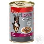 Корм Nutrilove влажный с говядиной, печенью и овощами в желе для собак 415г