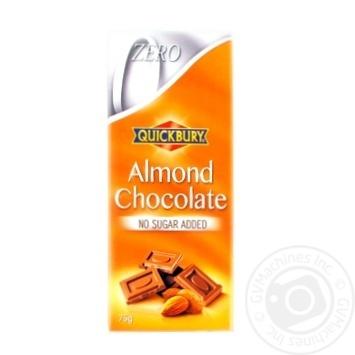 Шоколад молочный Quickbury с измельченным миндалем без сахара 75г
