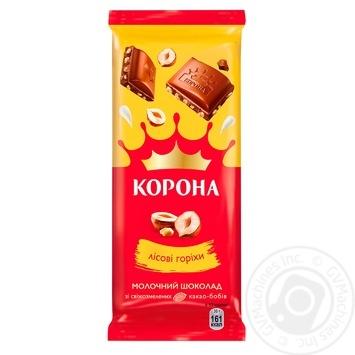 Шоколад молочный Корона с измельченными лесными орехами 85г