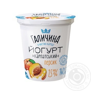 Galychyna Carpathian Peach Flavored Yogurt 2,5% 140g - buy, prices for CityMarket - photo 1