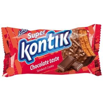 Печиво-сендвіч Super Kontik шоколадний смак 100г