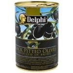 Маслины Delphi черные без косточки 415мл