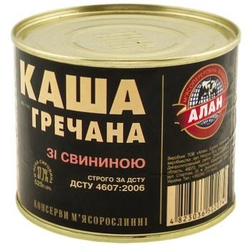 Каша Алан гречана зі свининою консервована 525г