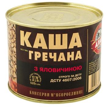 Консерви Алан Каша гречана з яловичиною 525г - купити, ціни на Ашан - фото 1