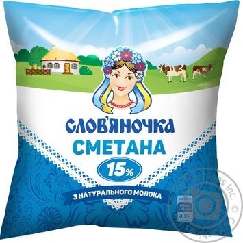 Сметана Славяночка 15% 400г Украина - купить, цены на Фуршет - фото 1