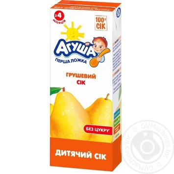 Сок Агуша Груша для детей от 4 месяцев 200мл - купить, цены на Novus - фото 1