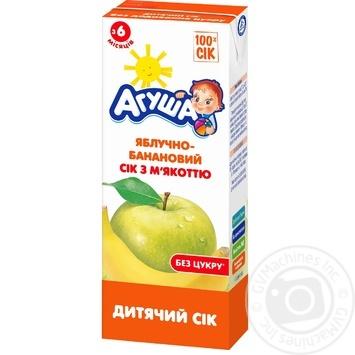 Сок Агуша яблочно-банановый с мякотью для детей с 6 месяцев 200мл - купить, цены на Novus - фото 1