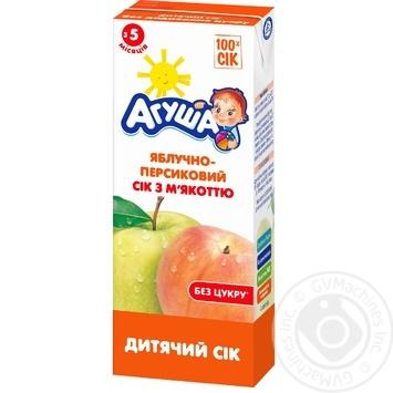 Сік Агуша яблучно-персиковий з м'якоттю дитячий відновлений гомогенізований стерилізований збагачений вітамінами і мінеральними речовинами з 5 місяців 200мл