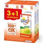 Juice Agusha apple for children from 4 months 4pcs 800ml