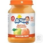Agusha sugar free for children from 6 months peach-apple puree 190g