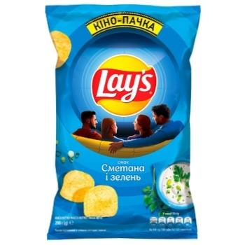 Чипсы Lay's картофельные со вкусом сметаны и зелени 200г - купить, цены на СитиМаркет - фото 1