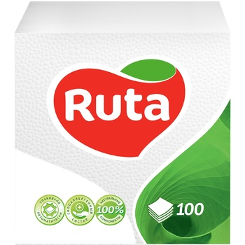 Серветки Ruta білі паперові 1-шарові 33*33см 100шт - купити, ціни на Фуршет - фото 1