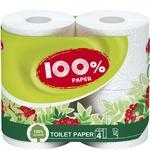 Папір туалетний Рута 100% Папер білий 4шт