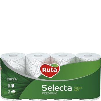 Папір туалетний Рута Селекта тришаровий білий 8шт - купити, ціни на Ашан - фото 1